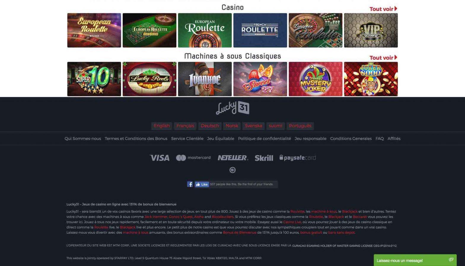 avis lucky31 casino